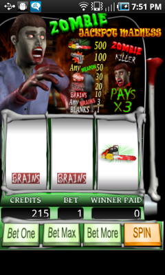 Zombie Jackpot Madness Android app screenshot